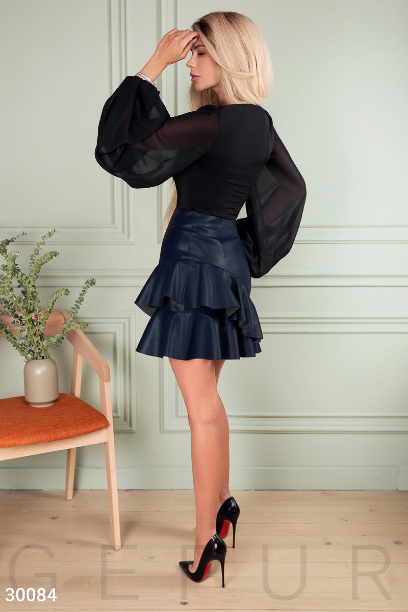 Leather skirt with ruffles Blue 30084