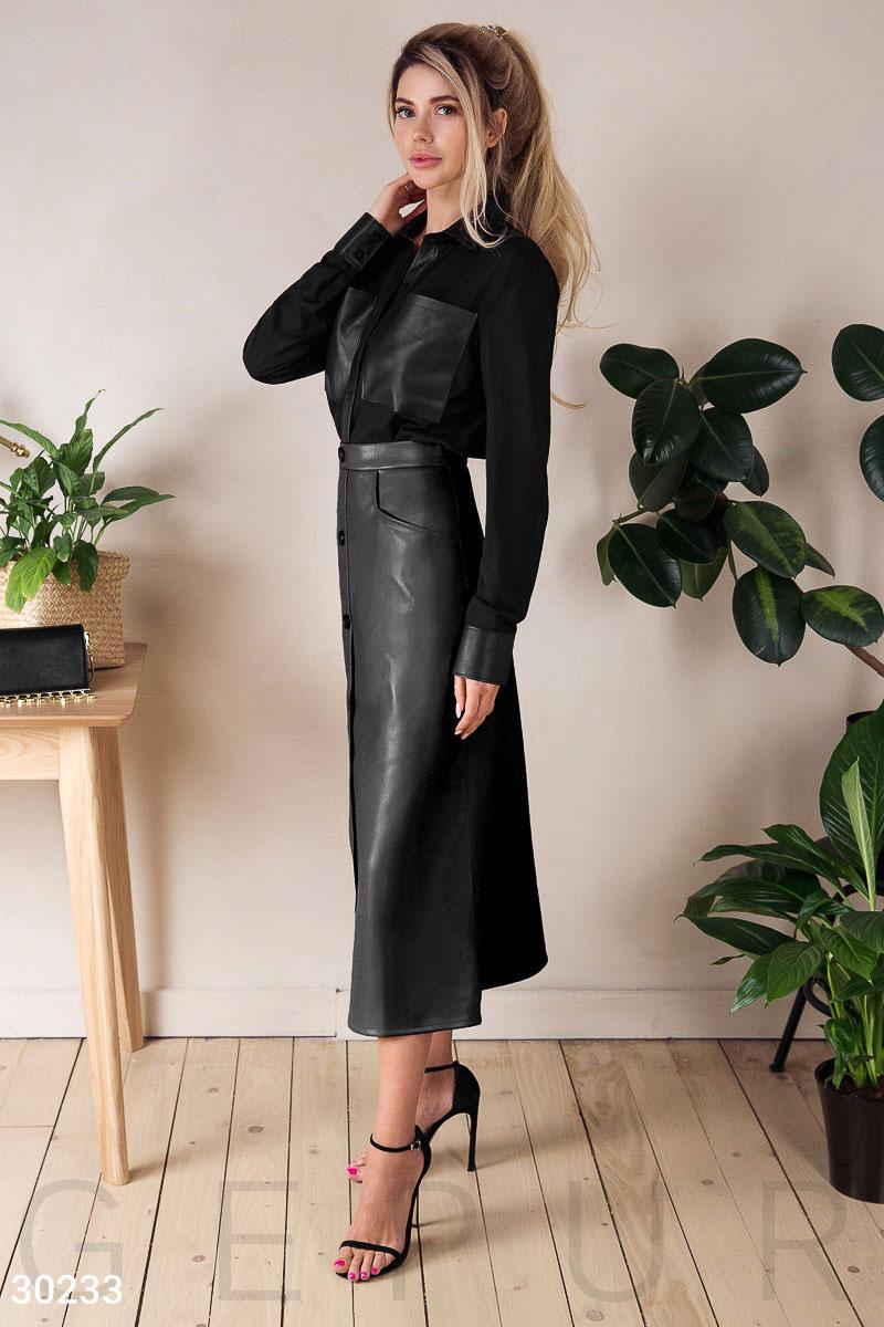 Длинная кожаная юбка