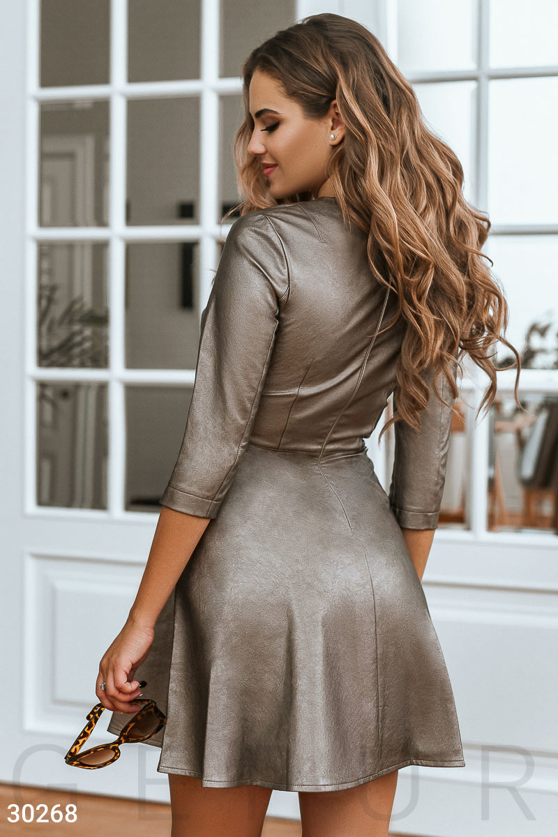 Leather dress-plated Brown 30268