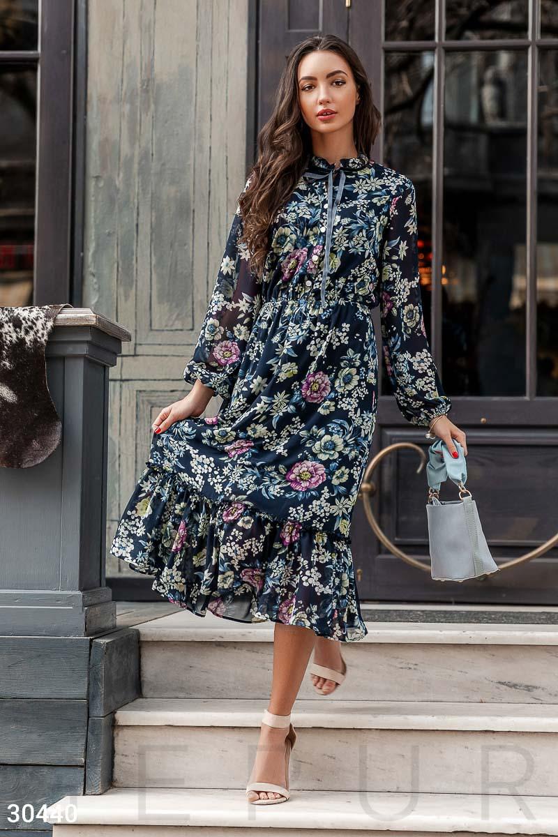 b03f407f205bbab Цветочное шифоновое платье - купить оптом и в розницу | GEPUR