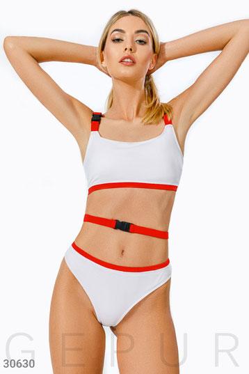 98b2fdfe6bb0e раздельный купальник с высокими плавками и карабином,цвет-красно-белый.  фото 0