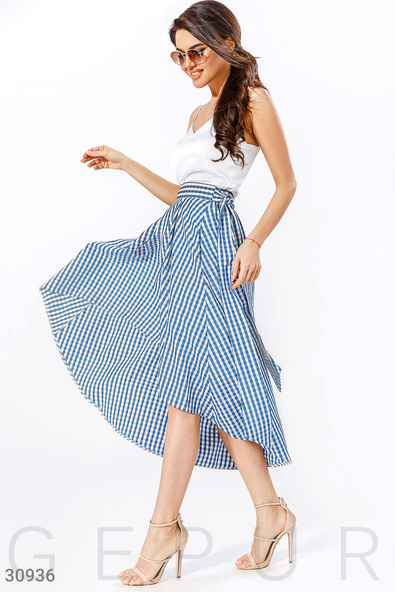 Асимметричная юбка в клетку