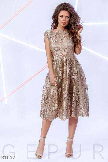 6adeabcc76dece3 Платье с коротким рукавом,ажурный вырез,юбка «татьянка»,цвет-золотистый