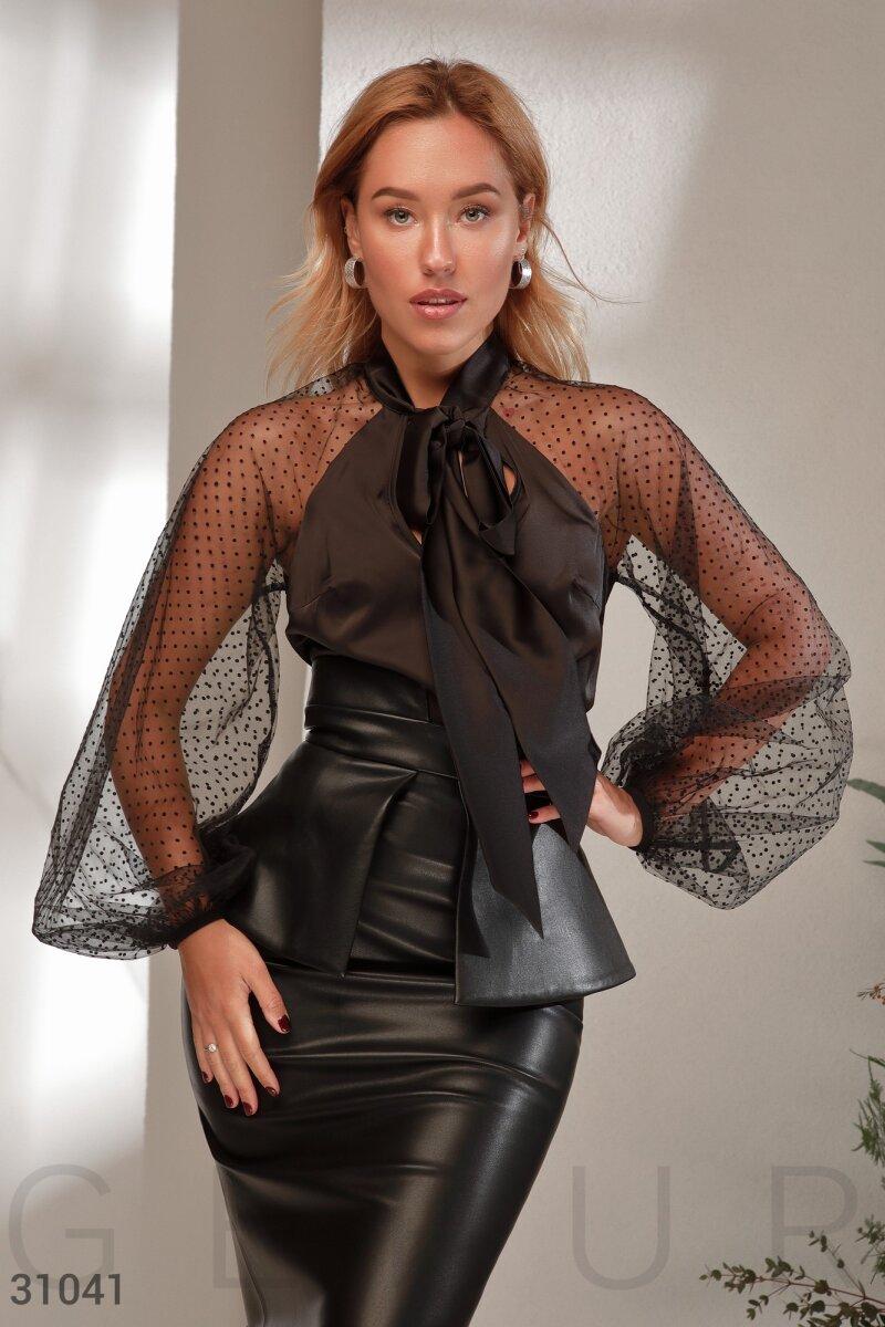 Шелковая блуза на завязках