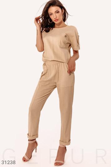 da0aca10220 Женские костюмы больших размеров бежевого цвета купить  оптом и в ...