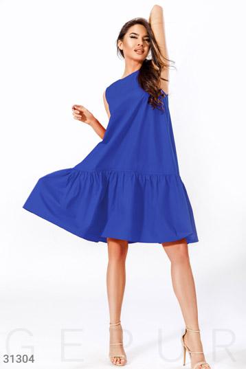 72aa2daa2e1fba5 платье,коттон,свободный крой,без рукавов,волан на подоле,цвет-