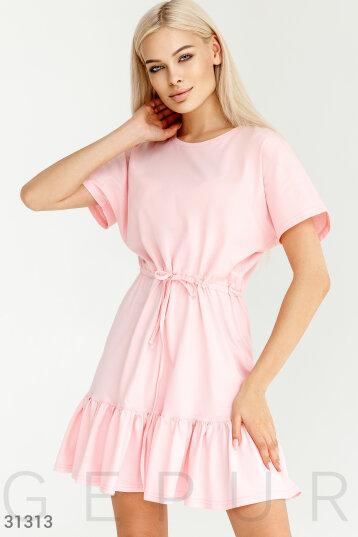 d810603ed003971 Платье-мини,цельнокроеный рукав,завязки на талии,юбка с воланом,цвет