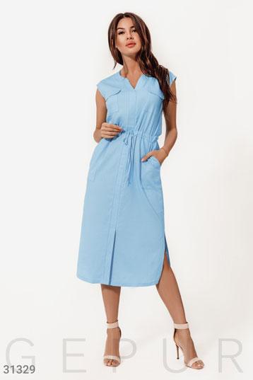 6f4e9895456778e Платье с накладными карманами,разрезы по бокам,цвет-голубой. фото 0