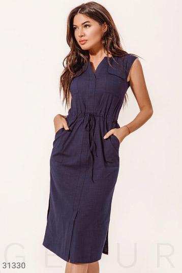 7a4329c3cd4b151 Платье с накладными карманами,разрезы по бокам,цвет-синий. фото 0