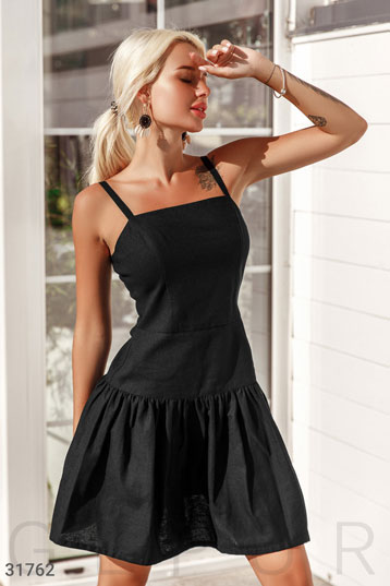 e333b10964693f Платье на бретелях,лен,юбка в складку,цвет-черный. фото 0