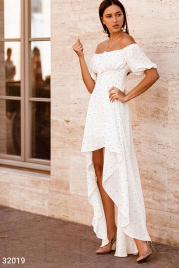 99c98cbb0f46d9 Платье,шифон,удлиненная спинка,ГОРОШЕК,цвет-белый. фото 0