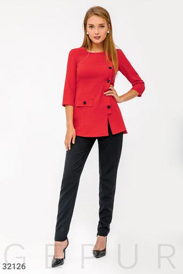 9a5a6c006f5e Костюм:однотонные брюки+верх с декоративными пуговицами и одним  карманом,цвет-красный