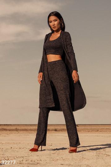 da2b377242c6 костюм,трикотаж ангора, топ+брюки+кардиган,цвет-темно-серый