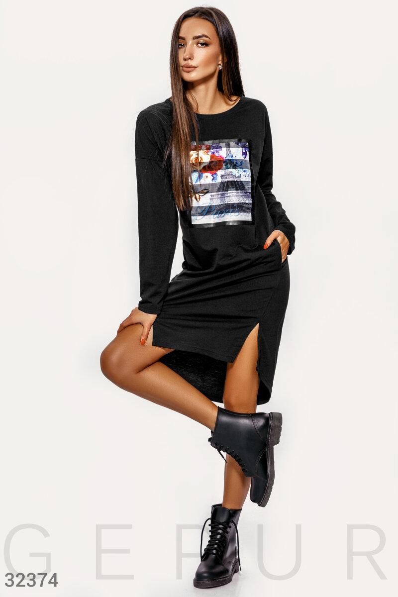 Асимметричное черное платье