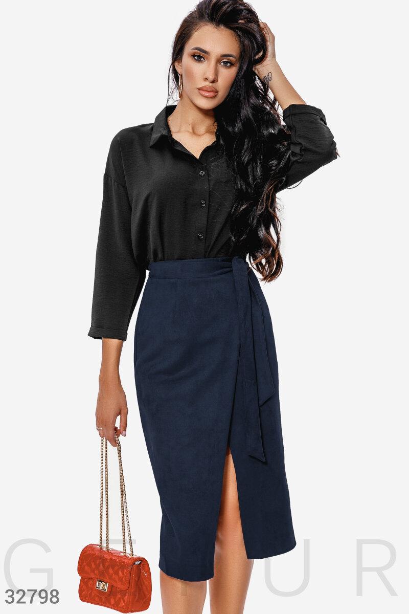 Замшевая темно-синяя юбка