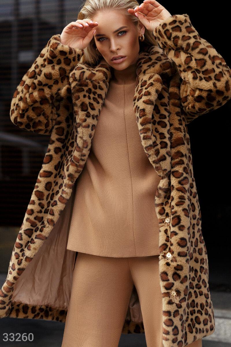 Шуба в леопардовый принт