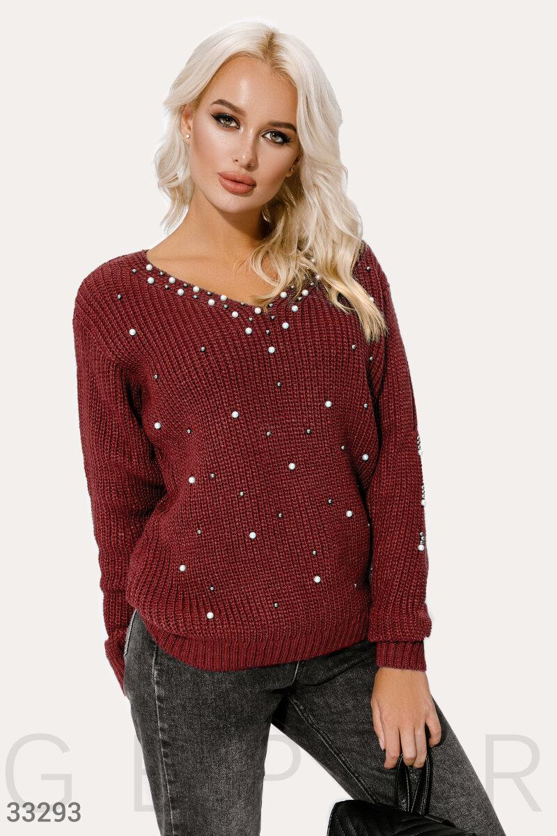 Бордовый вязаный пуловер
