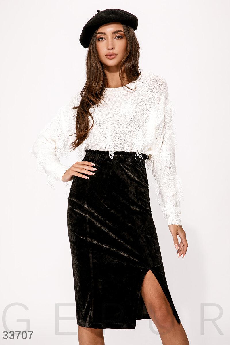 Бархатная черная юбка