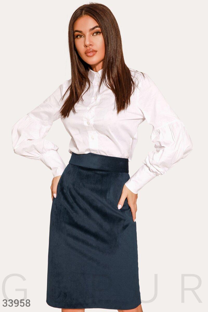 Вельветовая синяя юбка