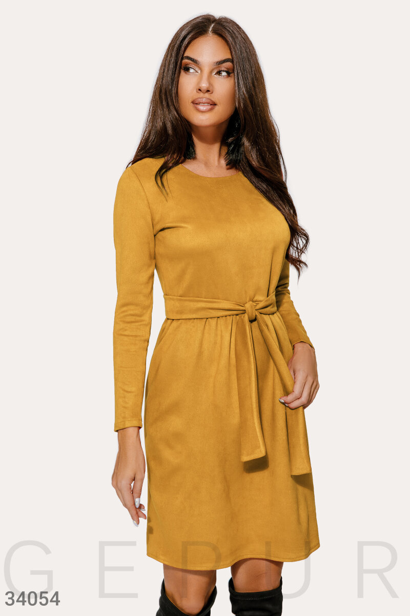 Suede dress mustard color Yellow 34054