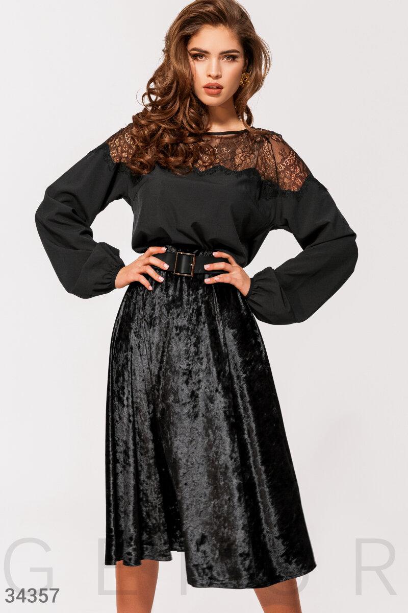 Бархатная юбка черного цвета
