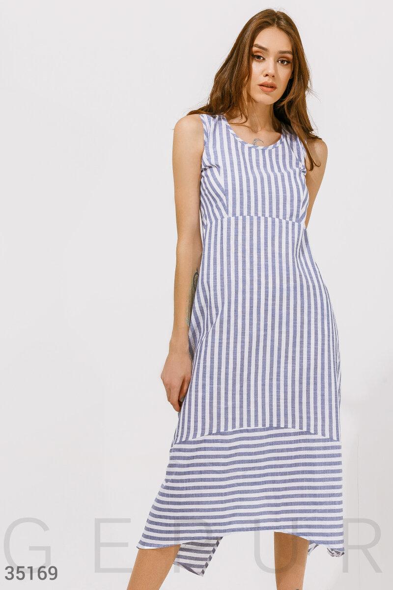 Платье в комбинированную полоску