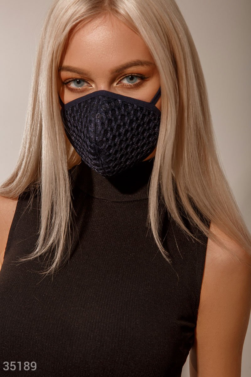 Темно-синяя многоразовая маска
