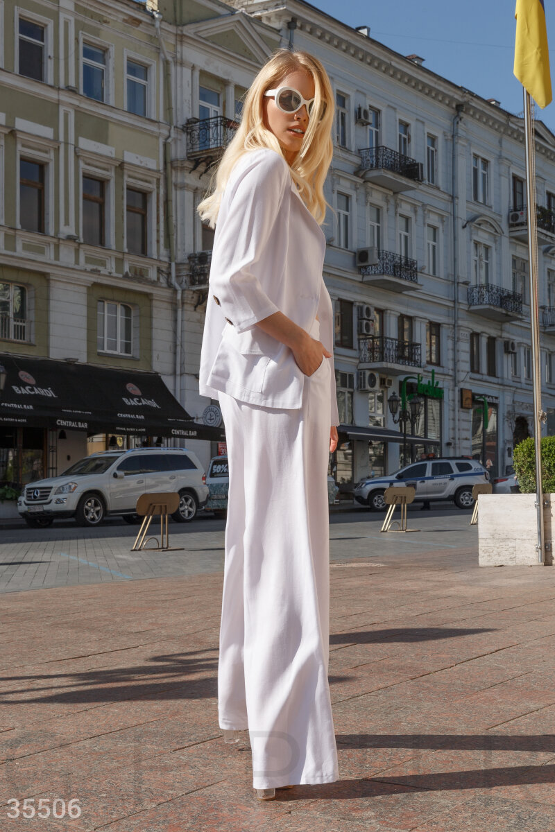 White linen suit with a jacket