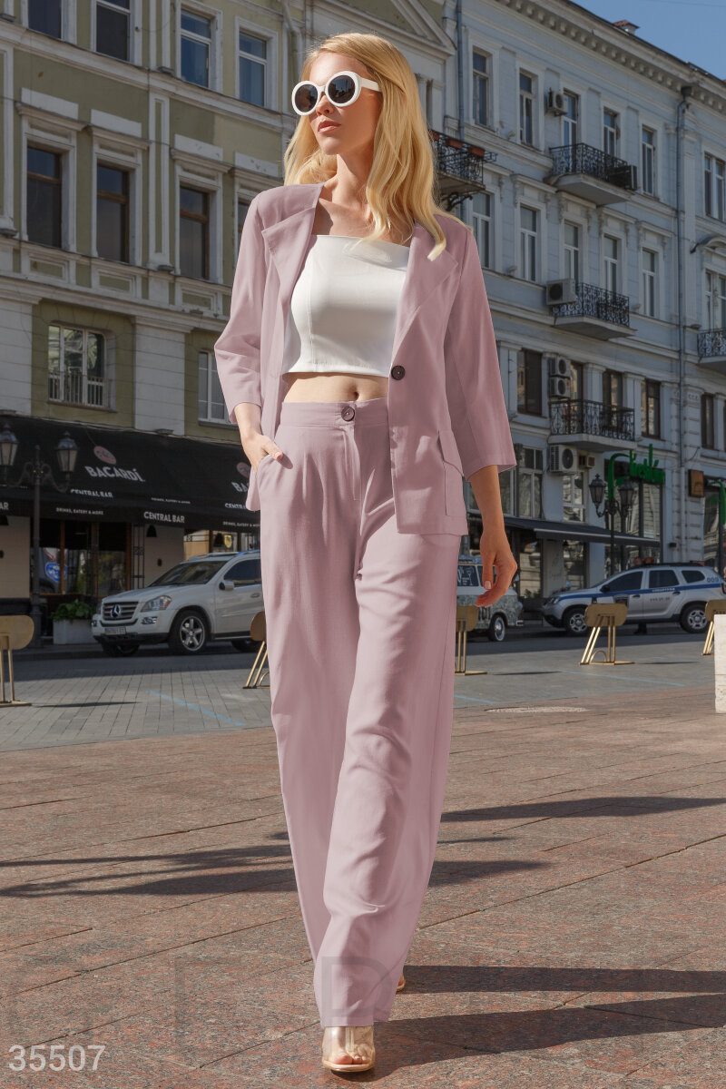 Pink summer suit with a jacket
