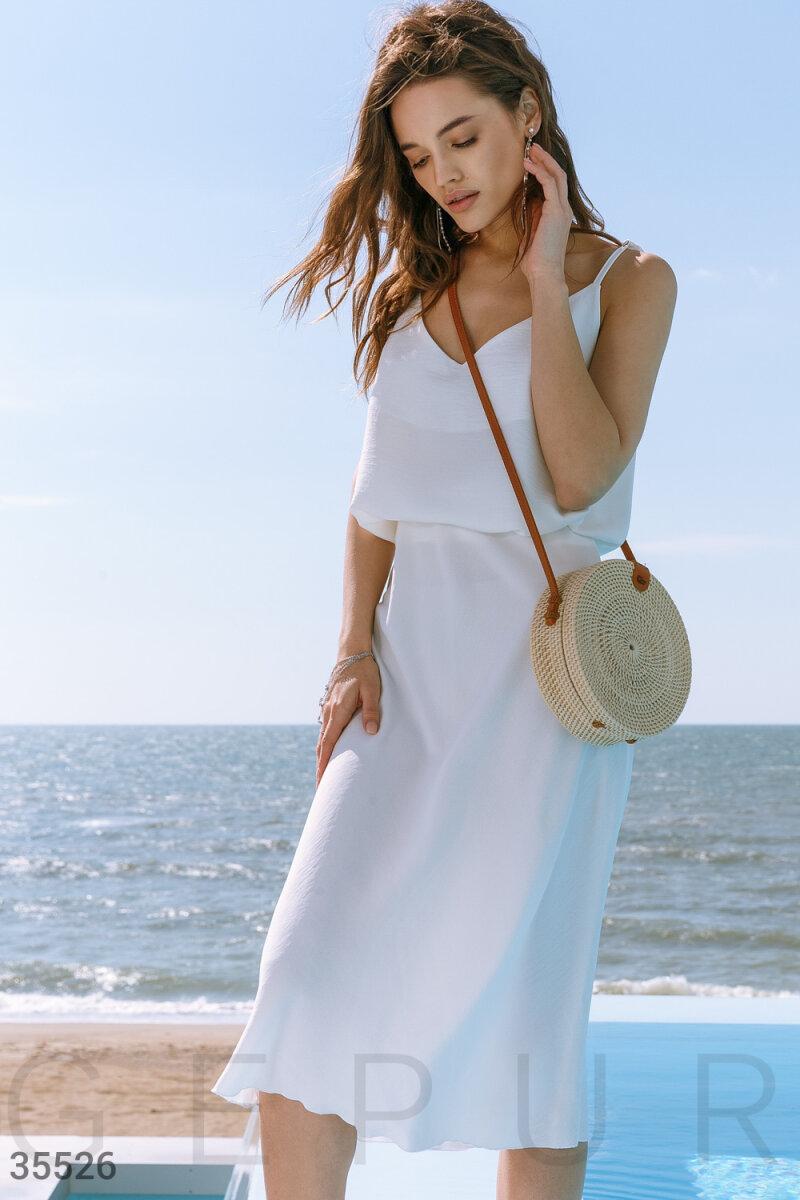 Белая летняя юбка-миди