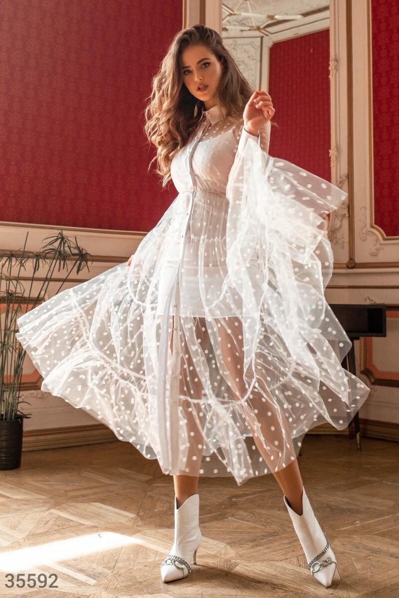 Белоснежное длинное платье-комбинация