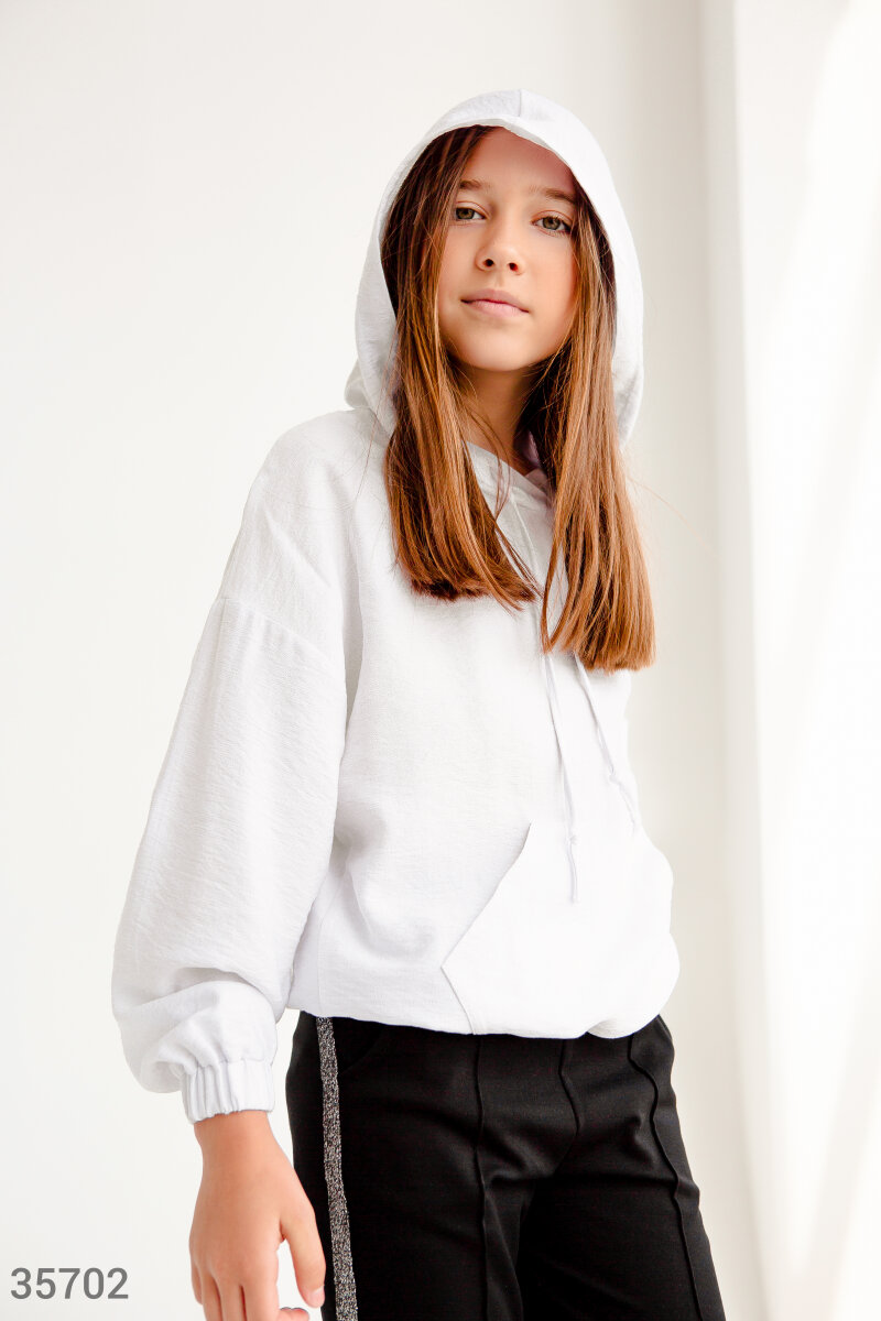 Белая рубашка-худи с капюшоном