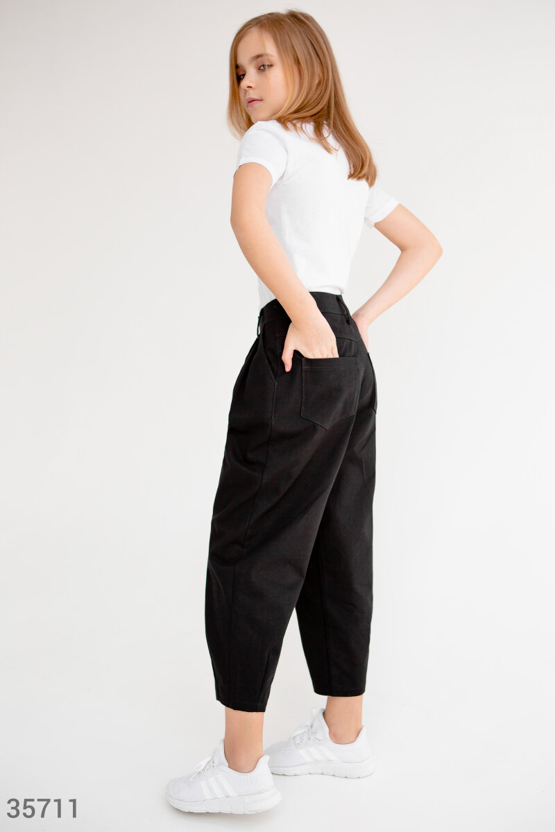 Черные брюки-бананы для девочки
