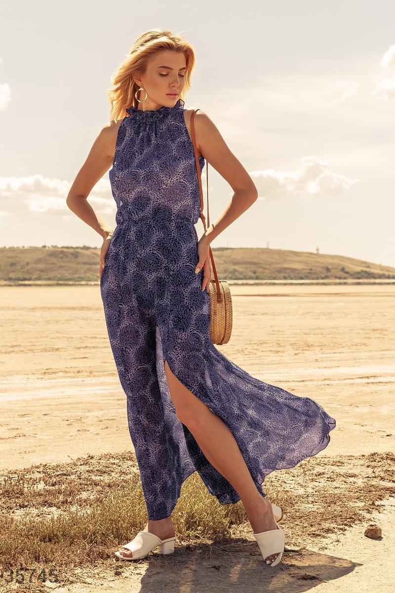Фиолетовое шифоновое платье