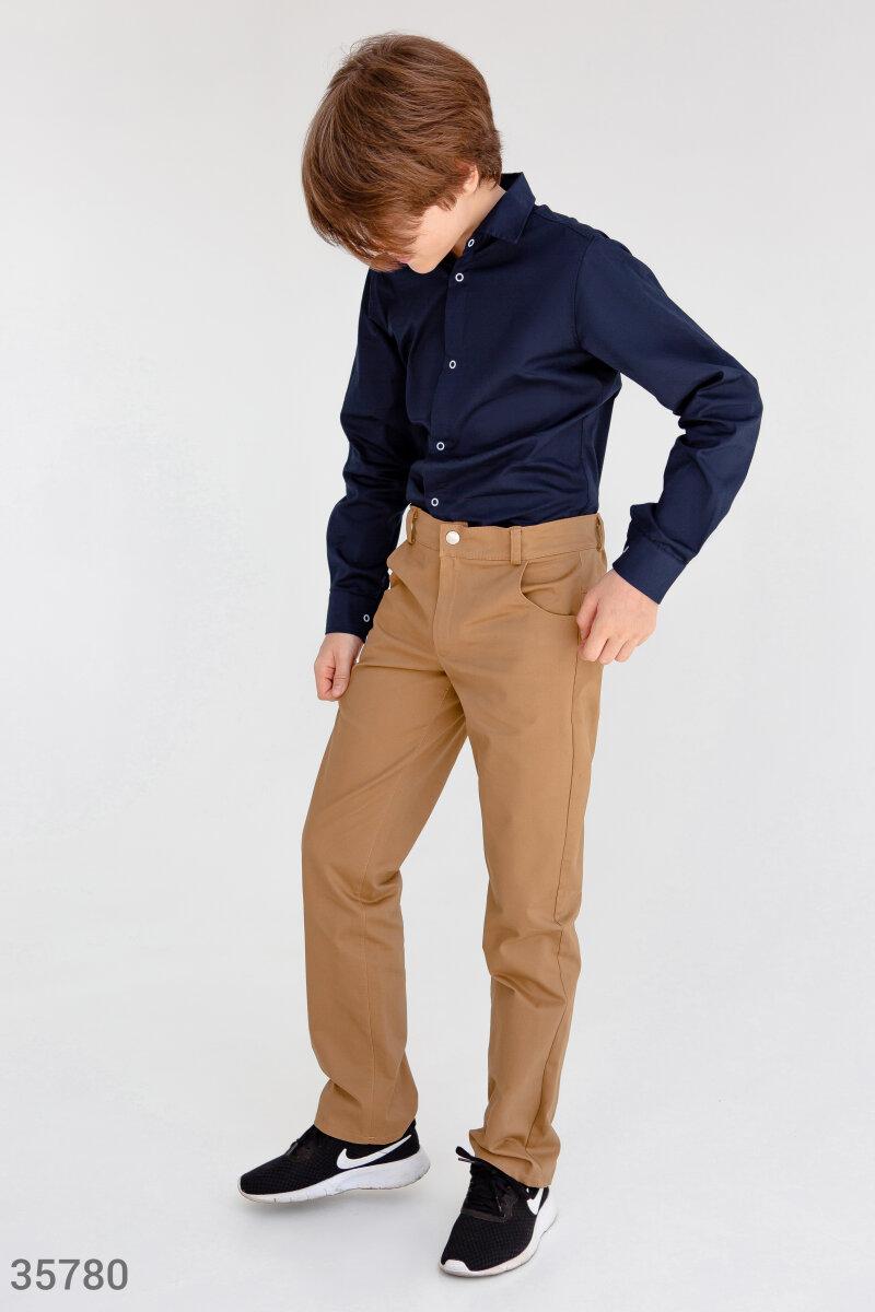 Бежевые брюки прямого кроя для школы