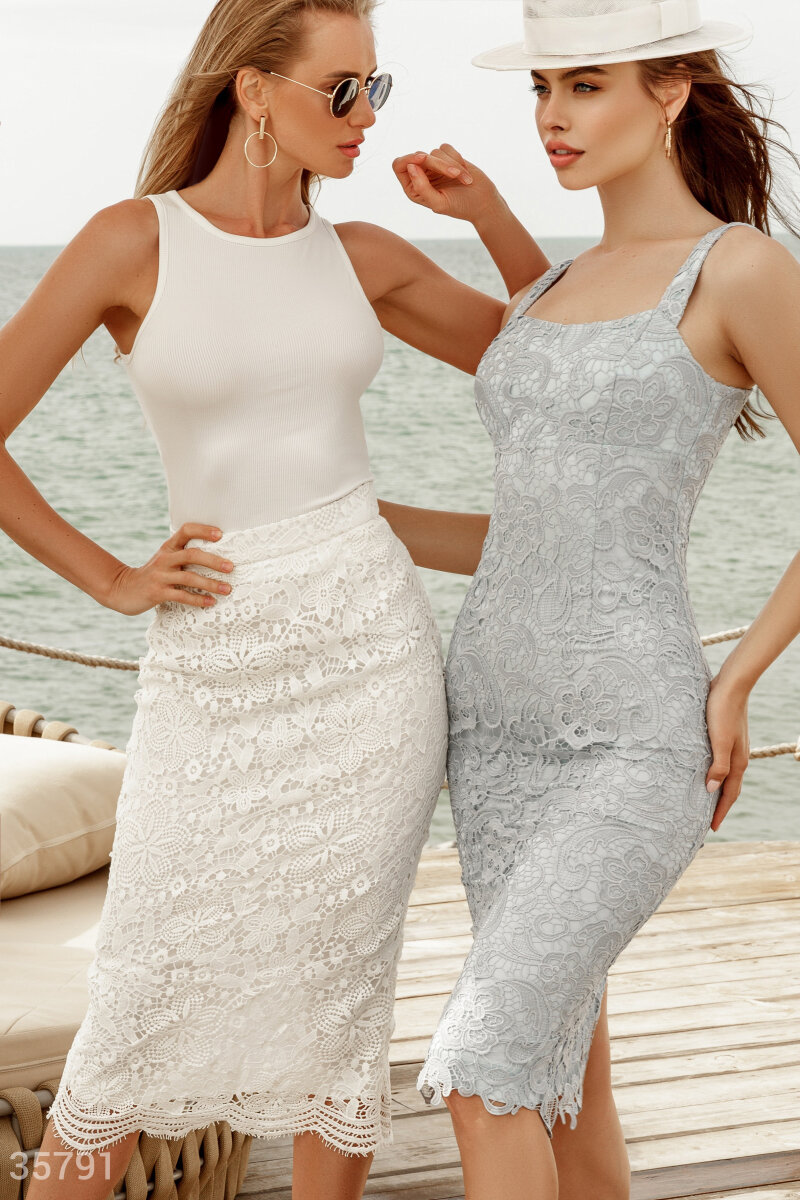 Белая кружевная юбка Gepur