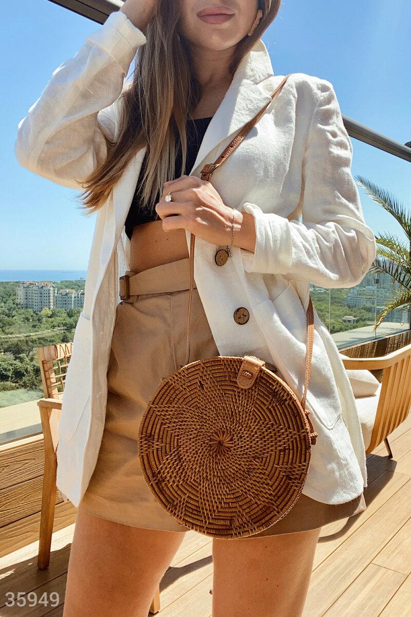 Круглая бали-сумка из ротанга карамельного оттенка
