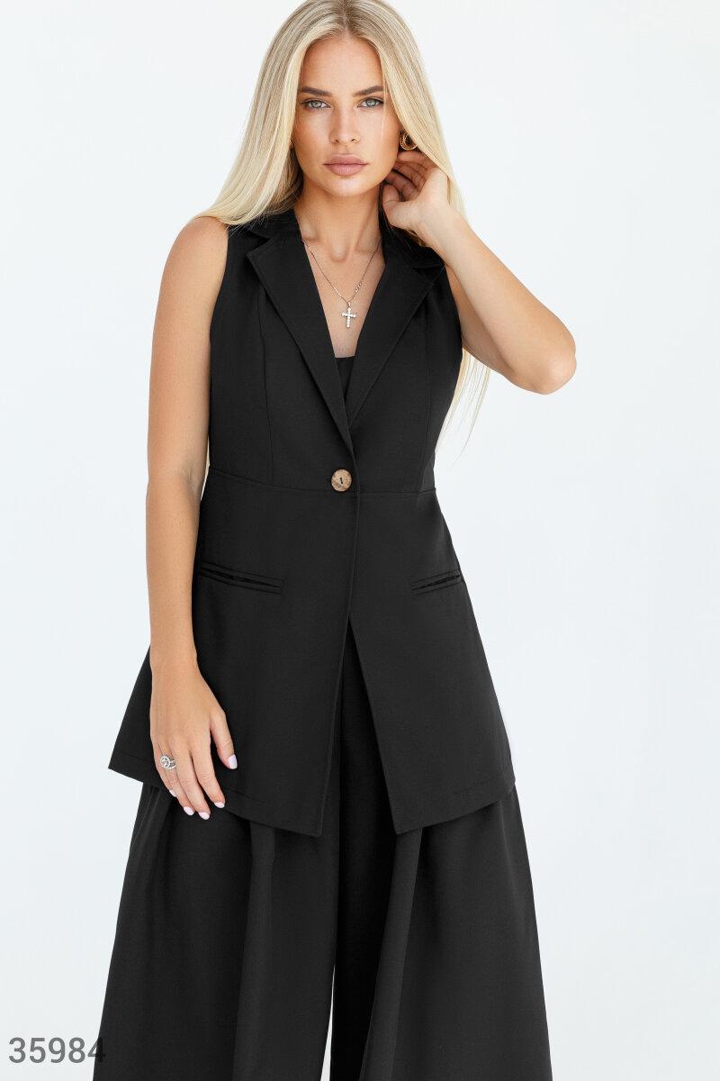 Стильный удлиненный жилет черного цвета
