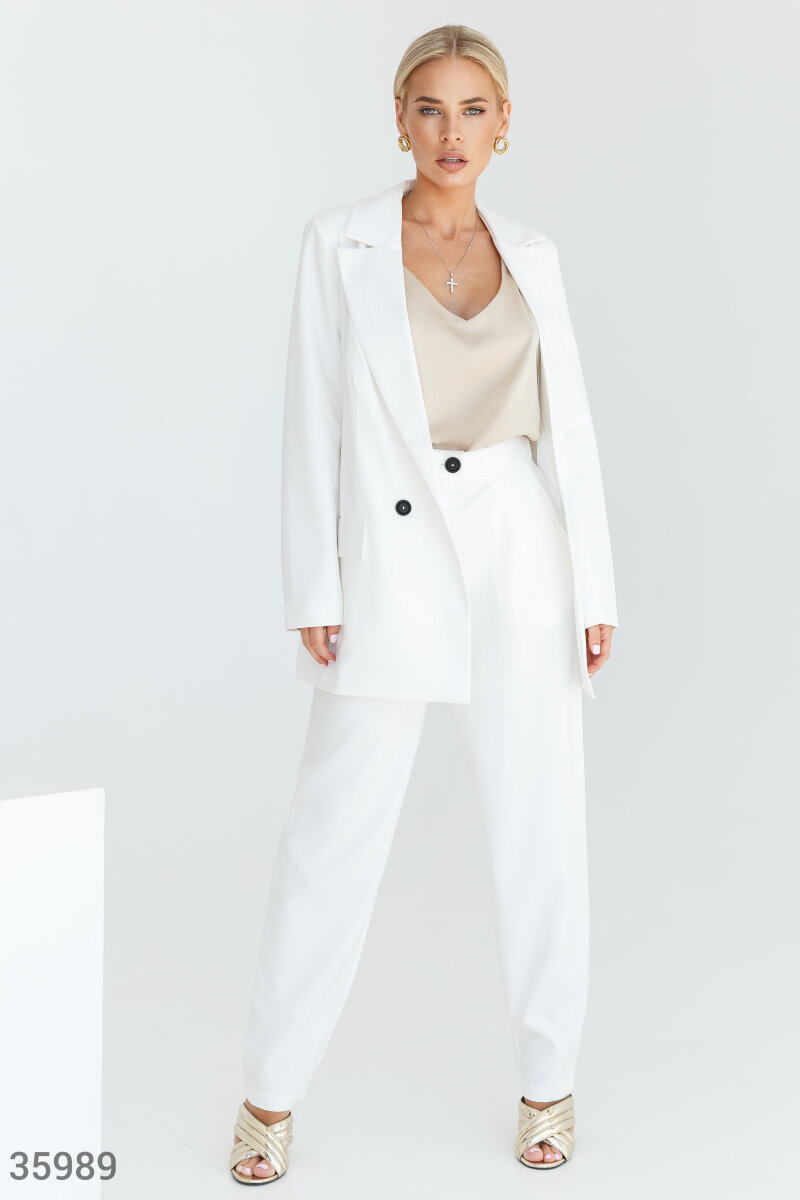 Stylish white suit with pants