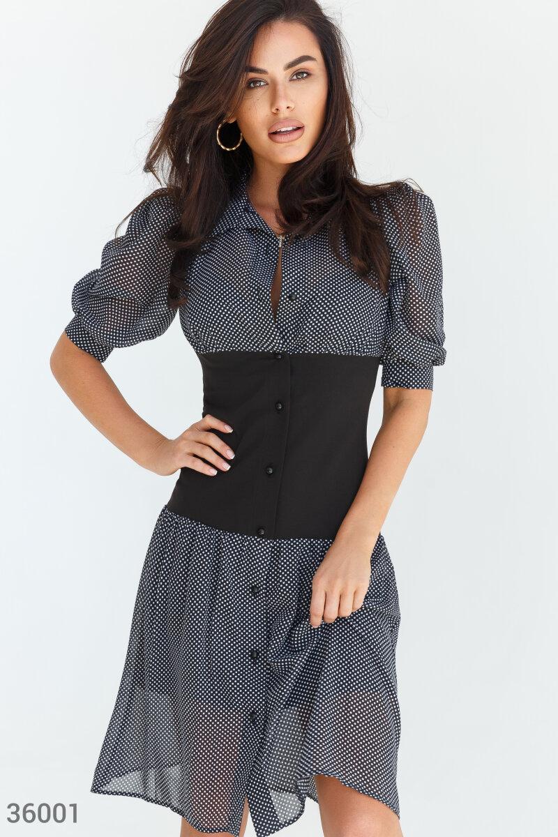 Шифоновое черное платье в гороховый принт