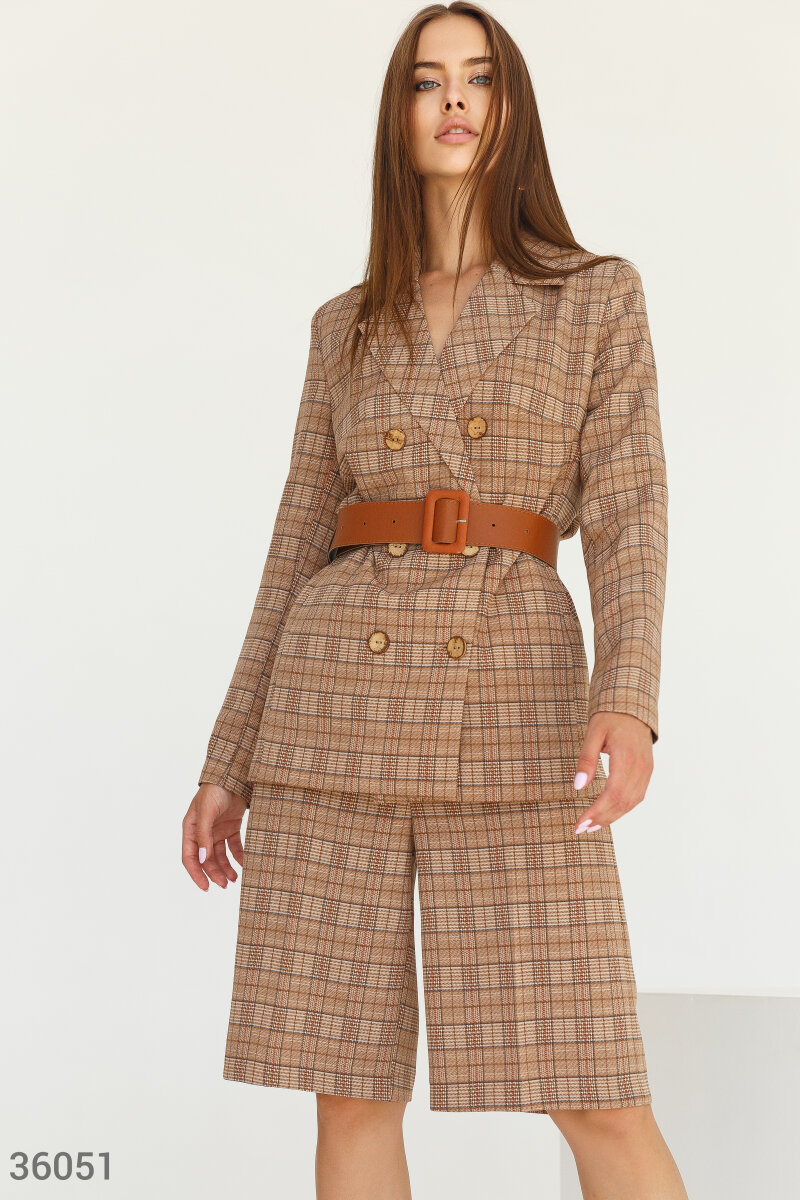 Checked blazer with a belt