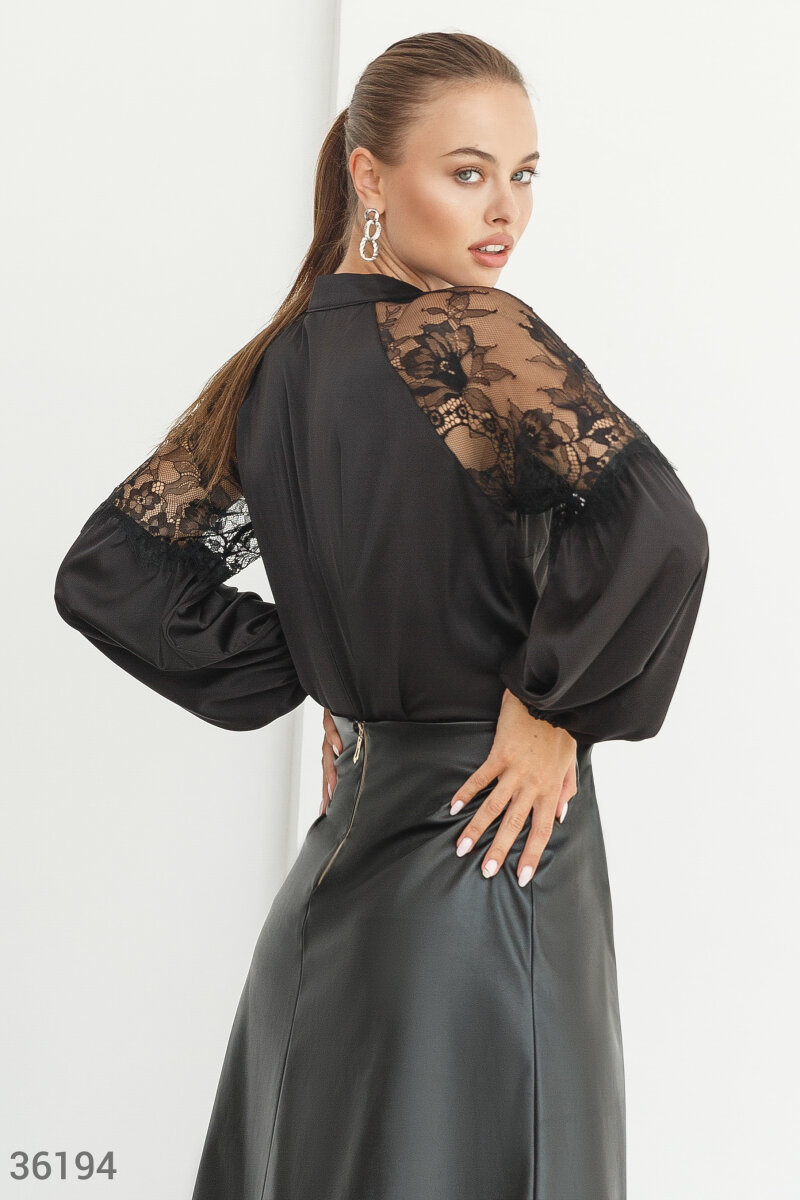 Silk blouse with lace Black 36194
