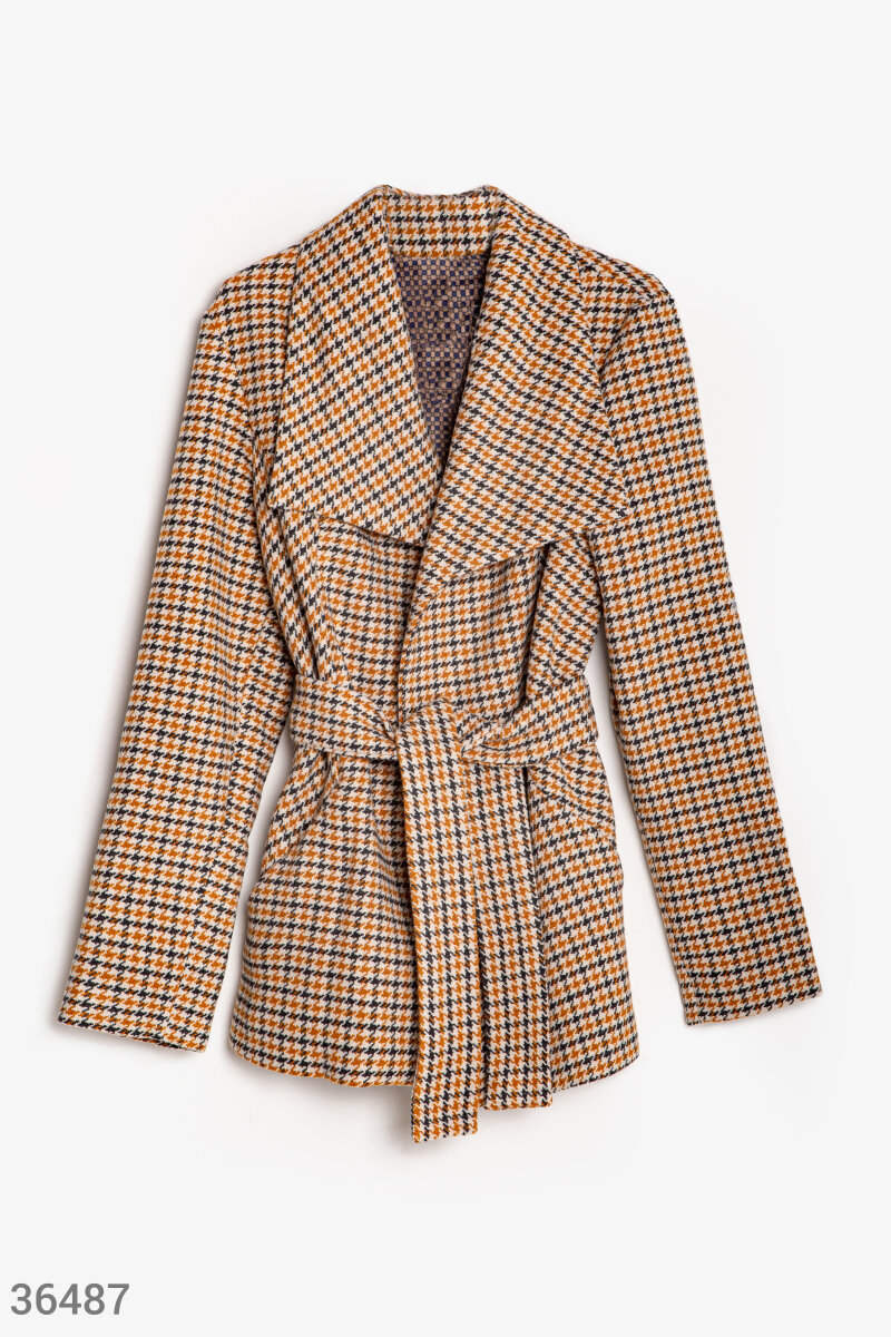 Checkered coat with belt Beige 36487