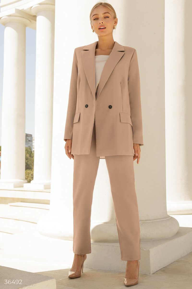 Stylish beige suit with trousers