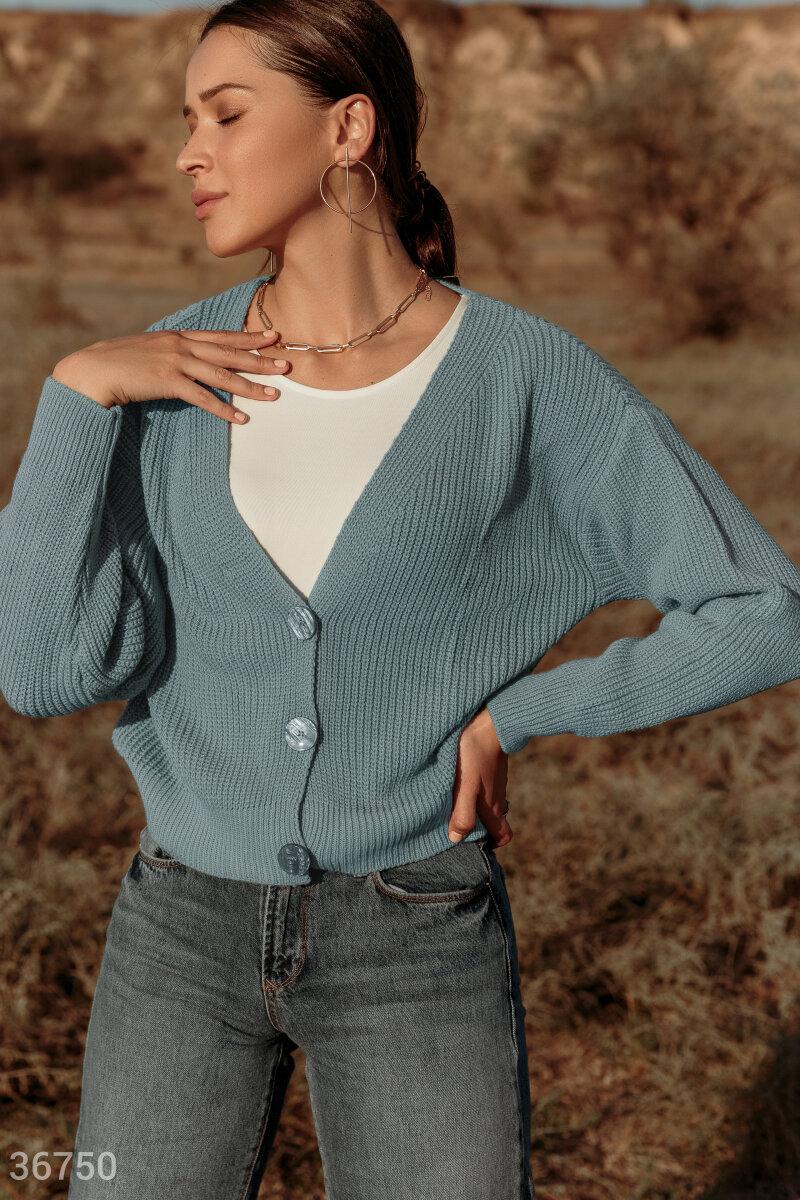 Укороченный кардиган ментолового оттенка гармонично дополнит повседневный образ с джинсами и майкой. Модель выполнена из фактурного вязаного трикотажа. Изделие со свободным кроем дополнено v-образным вырезом, подчеркивающим зону декольте. Кардиган застеги