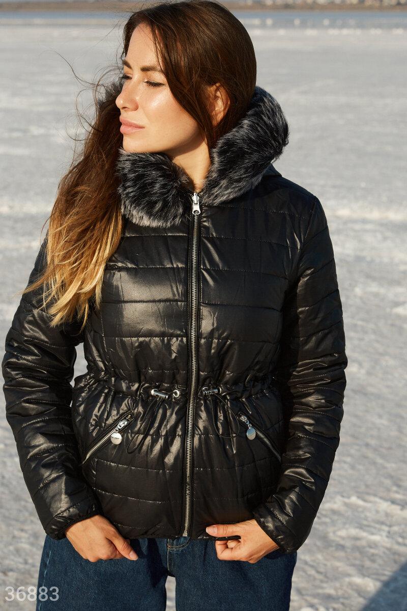 Двусторонняя куртка с мехом черного цвета