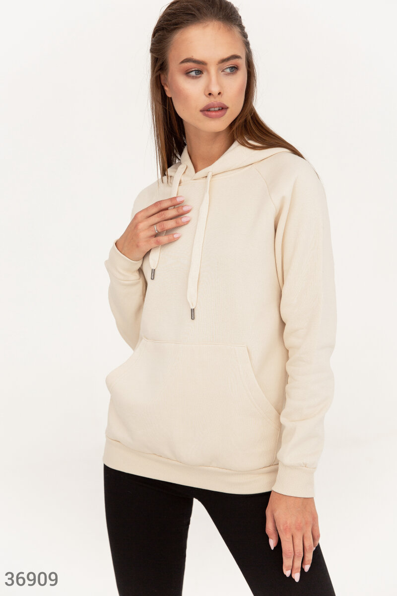 Milky-colored cotton hoodie   White 36909