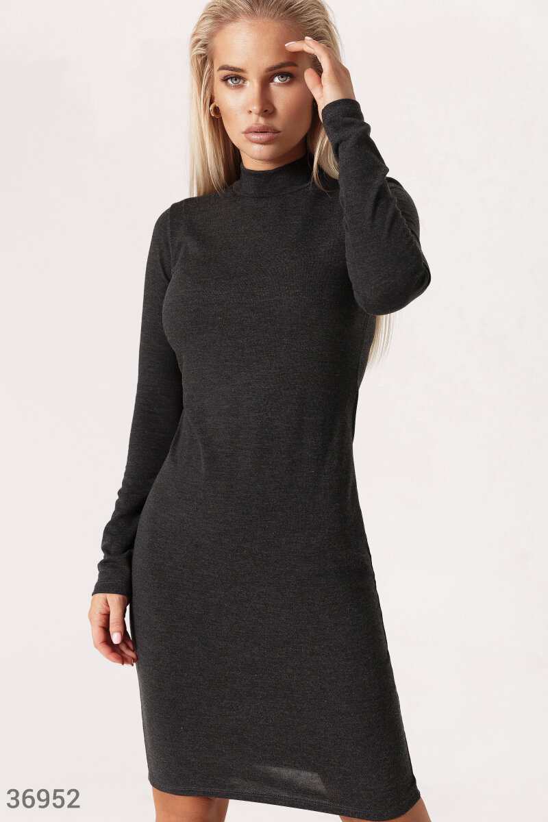 Solid grey dress-turtleneck