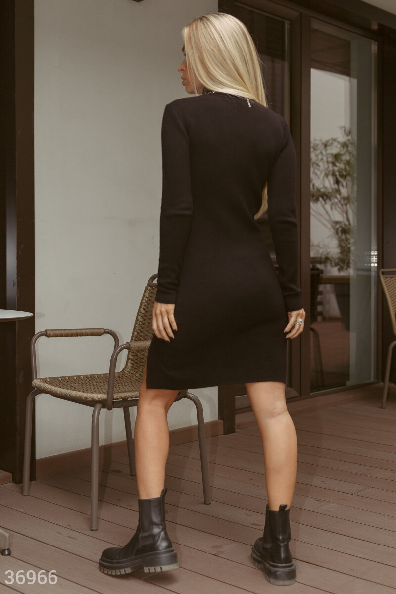 Turtleneck dress with slit