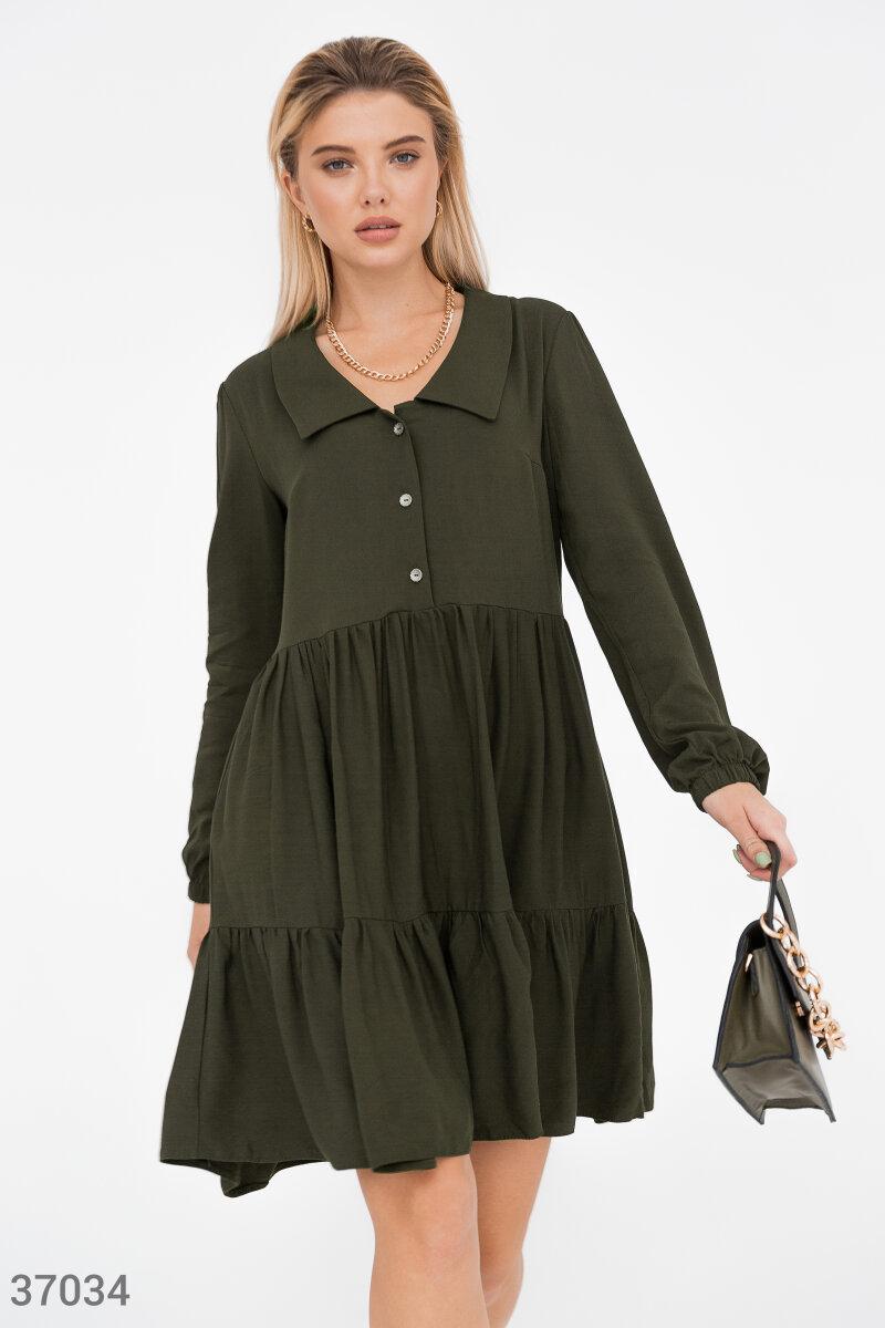 Фото 2 - Oversize-платье цвета хаки